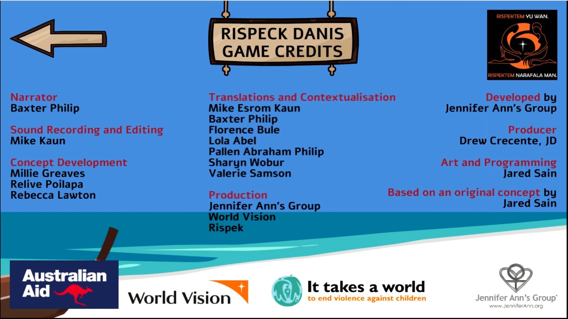 Credits screen from Rispek Danis (The Respect Dance) a video game about consent and healthy dating relationships.